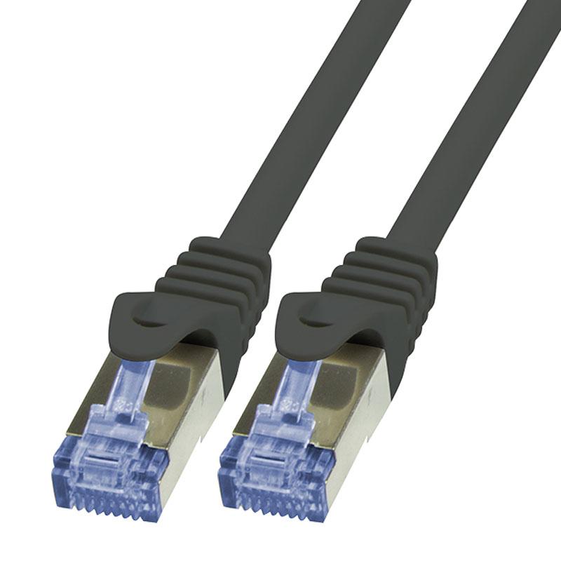 10m cat6a ethernet lan patchkabel gigabit netzwerkkabel kabel schwarz cat 6a ebay. Black Bedroom Furniture Sets. Home Design Ideas